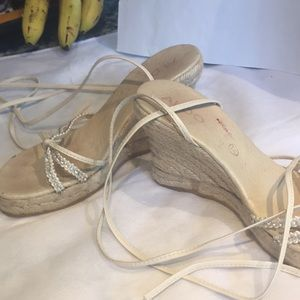 "Espadrille with crystal & ankle tie. 4""heel"